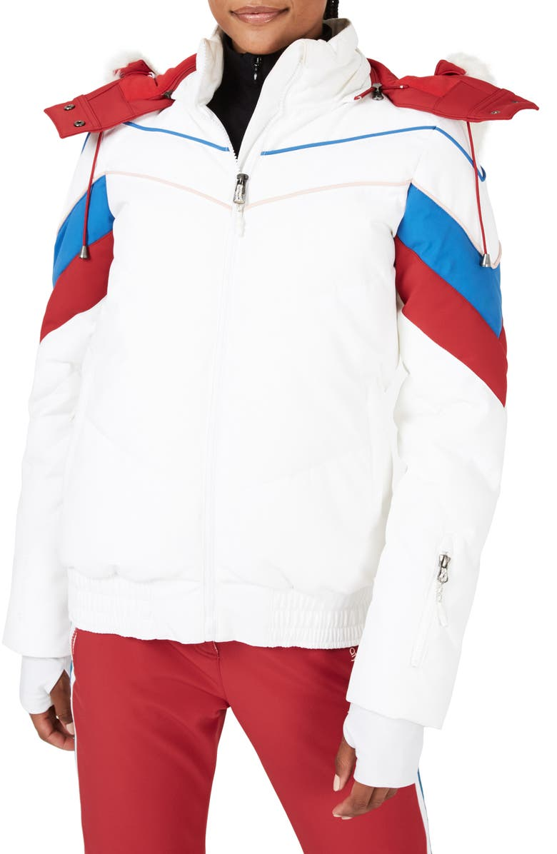 SWEATY BETTY Powder Faux Fur Trim Ski Jacket, Main, color, 100