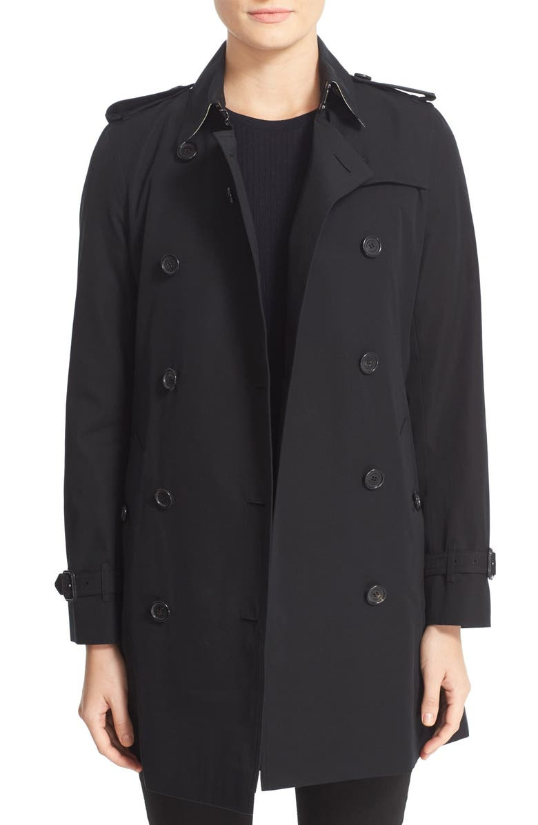 BURBERRY Kensington Mid Trench Coat, Main, color, BLACK