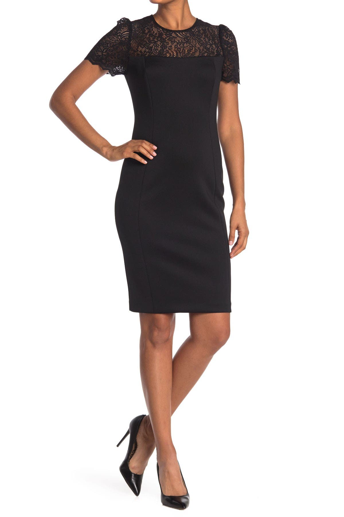 Image of Calvin Klein Lace Yoke Sheath Dress