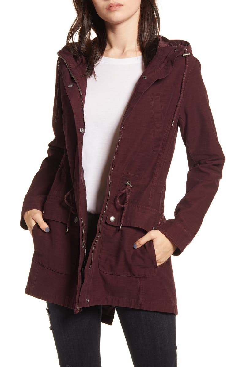 LEVI'S<SUP>®</SUP> Hooded Fishtail Parka, Main, color, PLUM