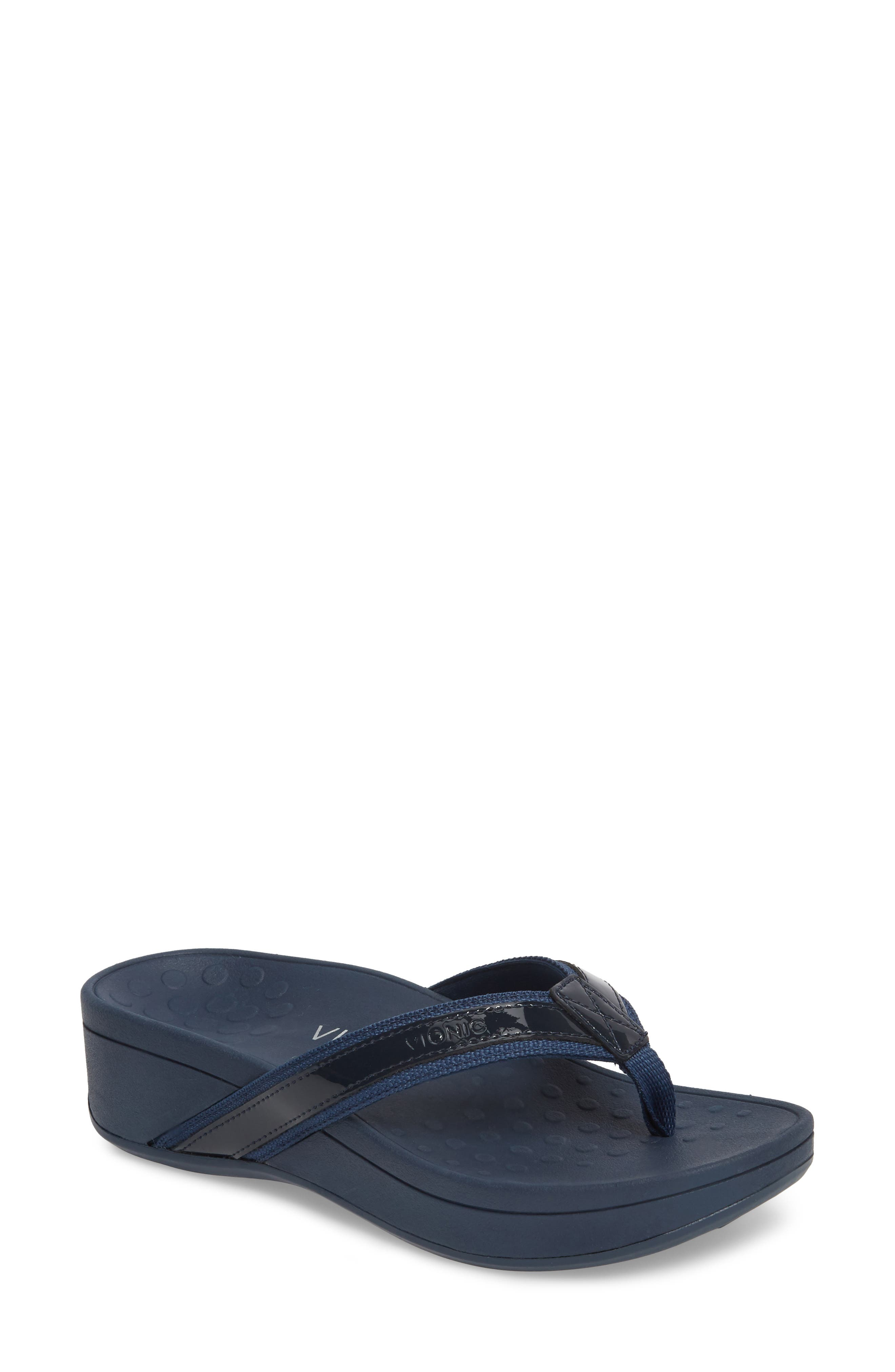 High Tide Wedge Flip Flop, Main, color, NAVY TEXTILE LEATHER
