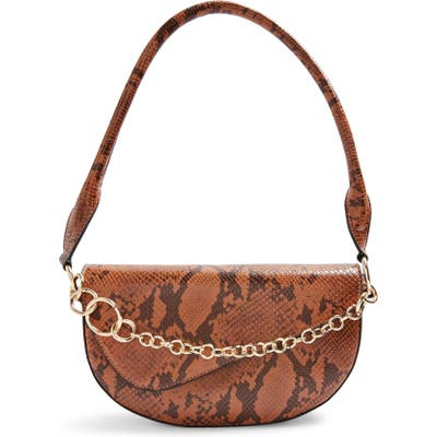Topshop Sienna Chain Faux Leather Shoulder Bag - Brown