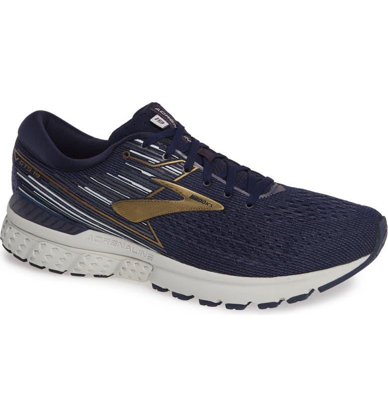 BROOKS Adrenaline GTS 19 Running Shoe, Main, color, NAVY/ GOLD/ GREY