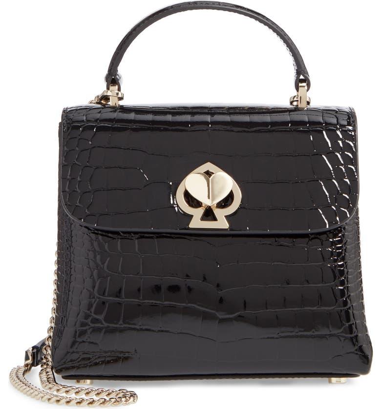 KATE SPADE NEW YORK romy croc-embossed leather top handle bag, Main, color, BLACK