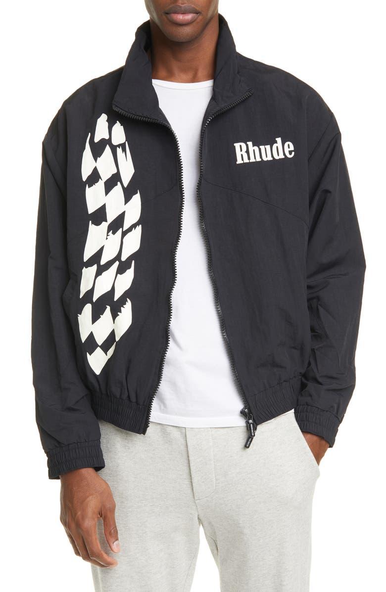 RHUDE Logo Track Jacket, Main, color, BLACK