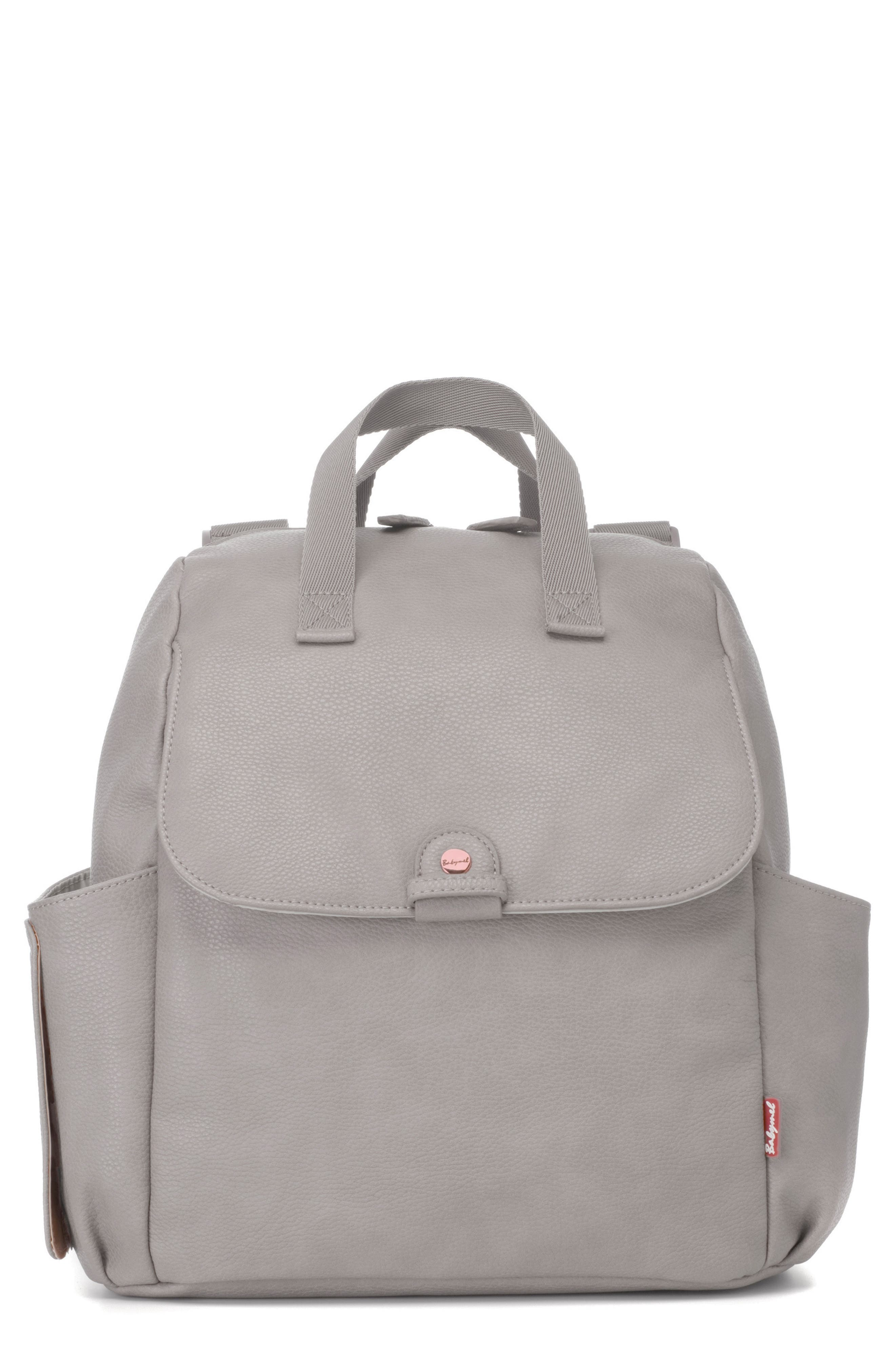 Infant Babymel Robyn Convertible Faux Leather Diaper Backpack  Grey