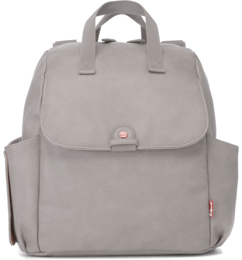 BABYMEL Robyn Convertible Faux Leather Diaper Backpack, Main, color, PALE GREY