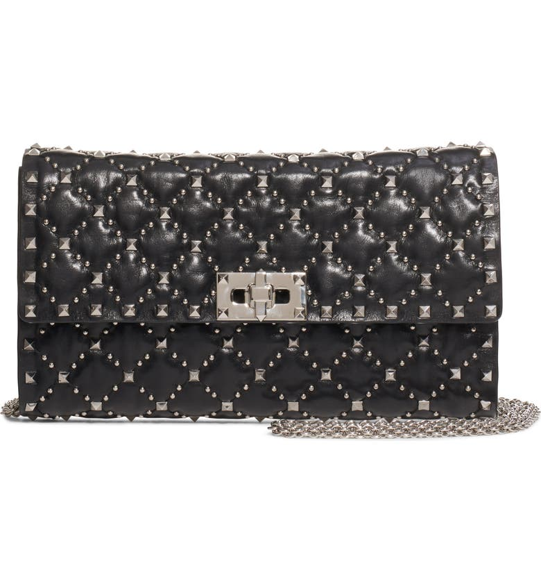 VALENTINO GARAVANI Spike It Leather Shoulder Bag, Main, color, NERO
