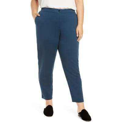 Plus Size Eileen Fisher Slouchy Tencel Lyocell Blend Ankle Pants, Blue