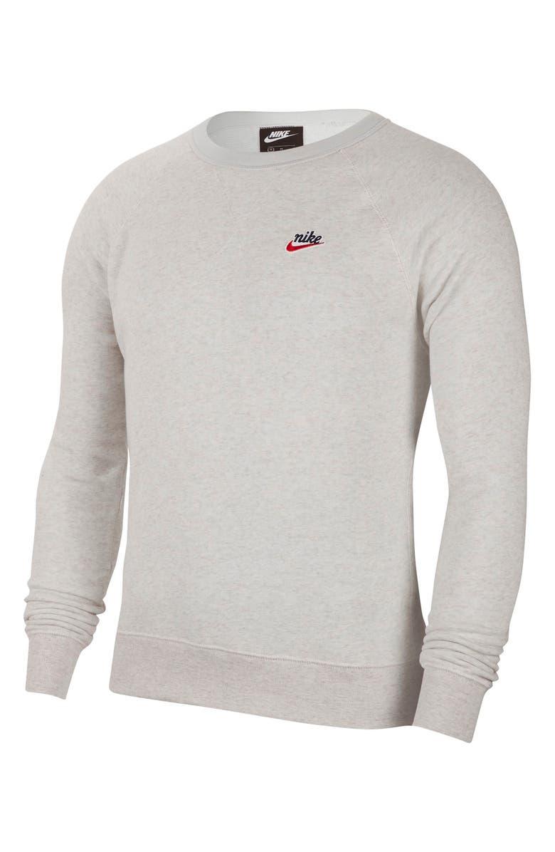 NIKE Sportswear Heritage Crewneck Sweatshirt, Main, color, ATMOSPHERE GREY/ HEATHER