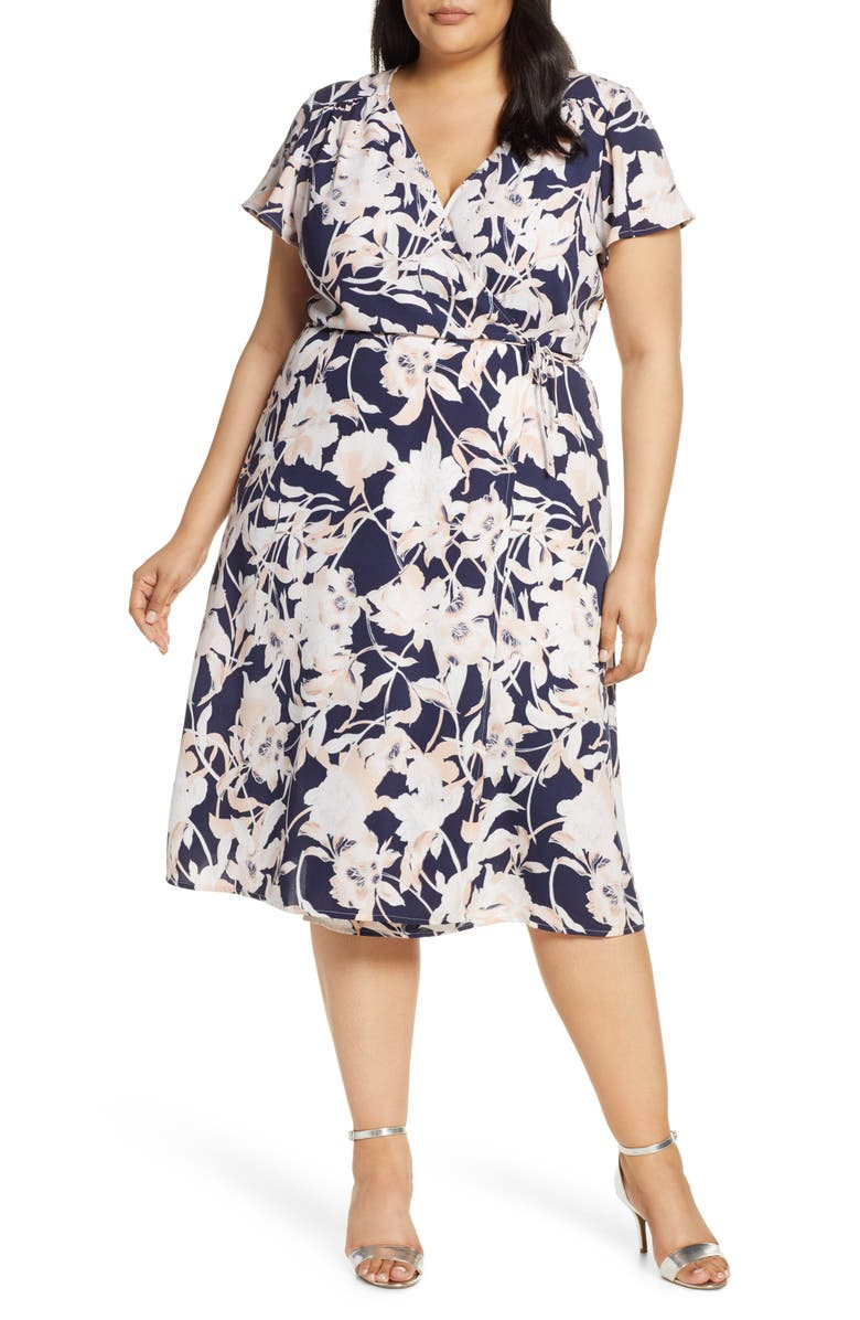 LEITH Midi Wrap Dress, Main, color, NAVY PEACOAT AURA FLORAL