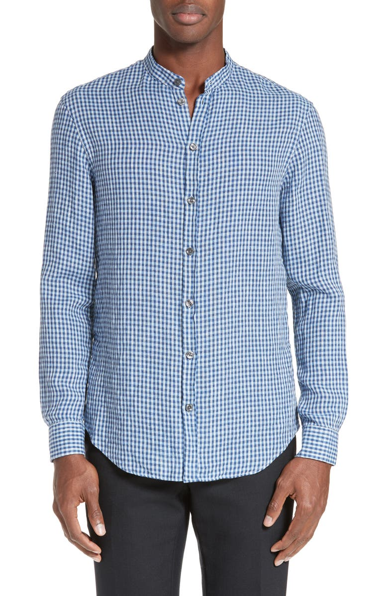EMPORIO ARMANI Armani Collezioni Trim Fit Gingham Check Linen Shirt, Main, color, 400
