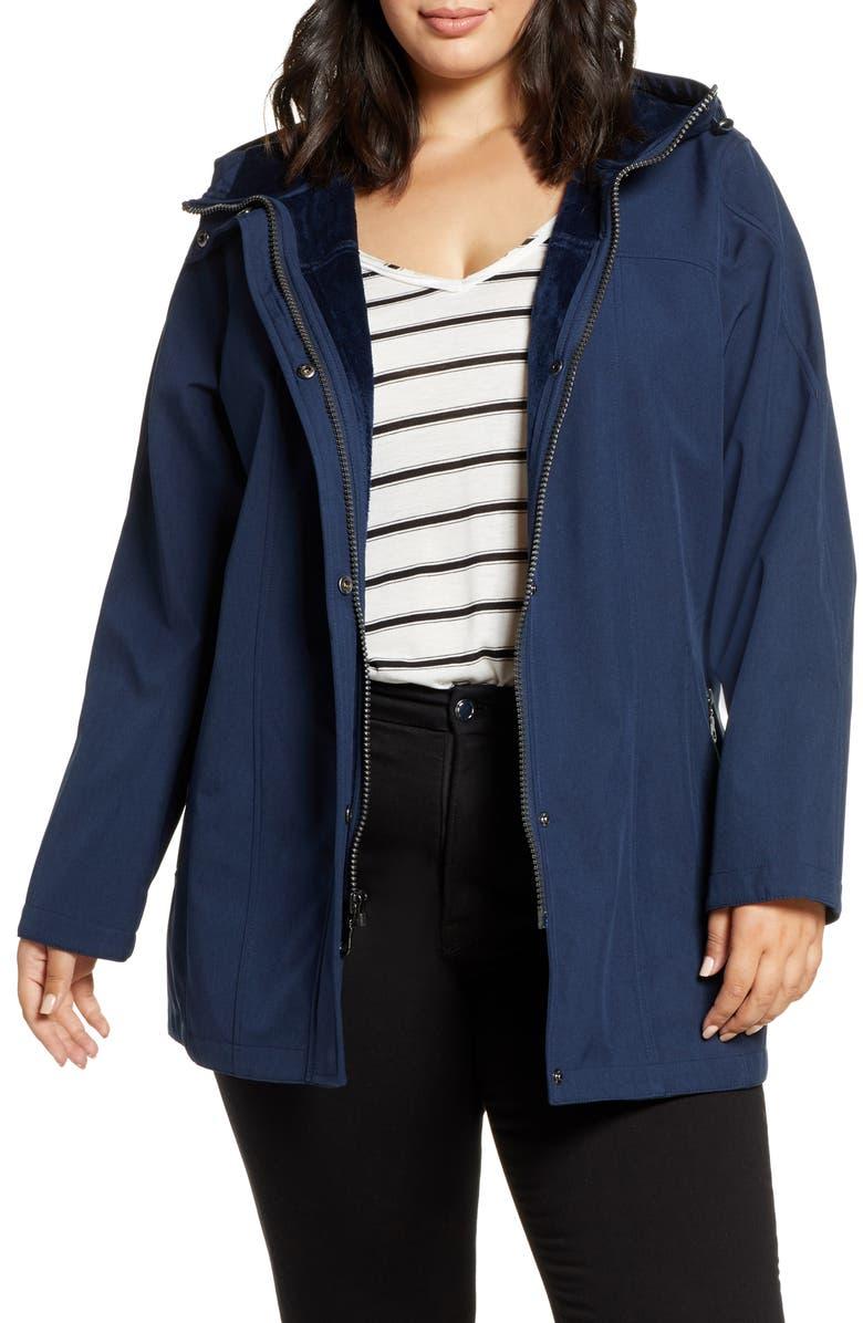 KRISTEN BLAKE Soft Shell Hooded Jacket, Main, color, NAVY