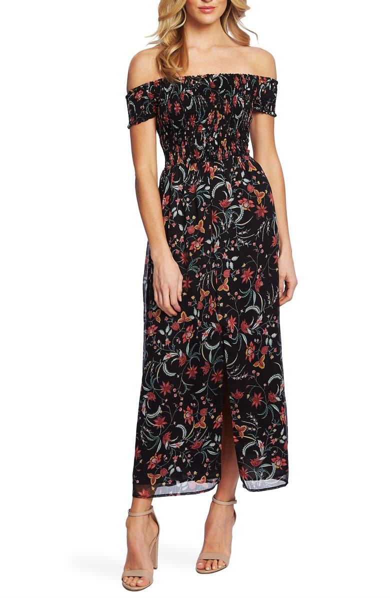 CECE Smocked Off the Shoulder Midi Dress, Main, color, 006