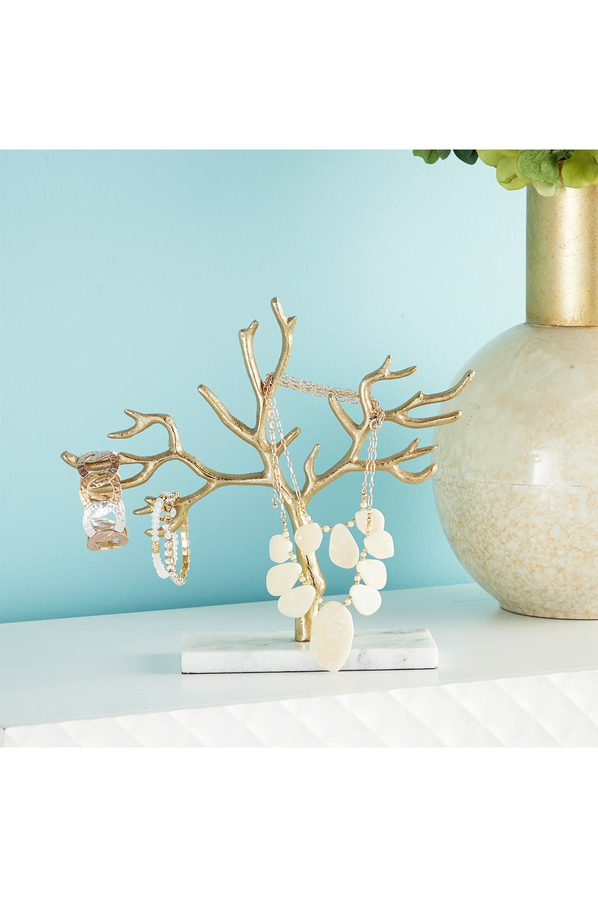 Image of CosmoLiving by Cosmopolitan Tall Metallic Gold Metal Jewelry Tree on White Marble Base