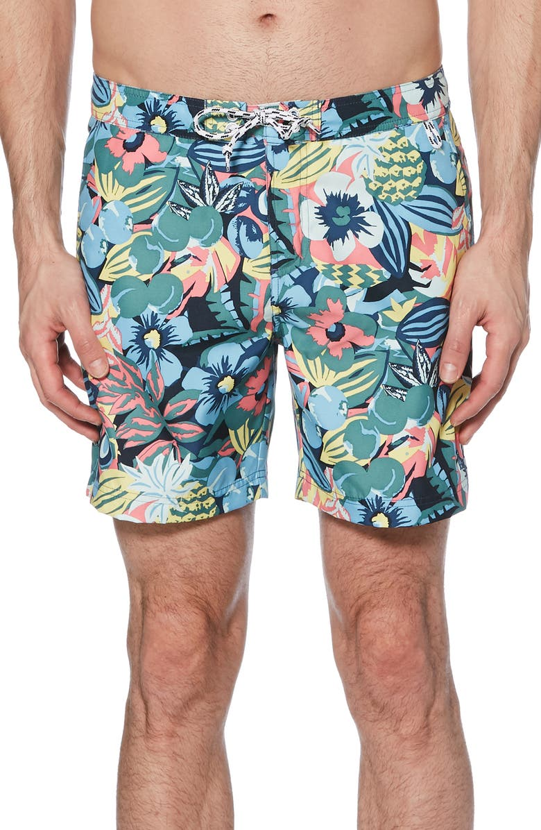 ORIGINAL PENGUIN Jungle Print Volley Swim Trunks, Main, color, SARGASSO SEA