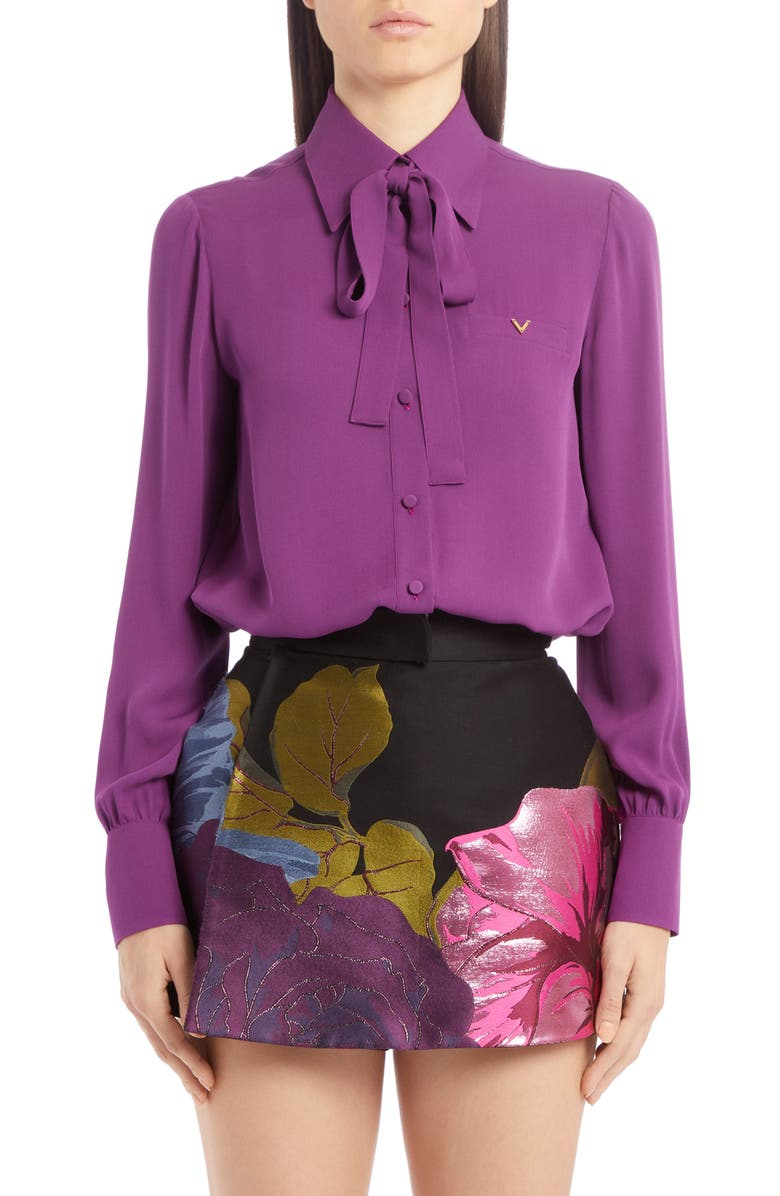 VALENTINO Silk Tie Neck Shirt, Main, color, 500