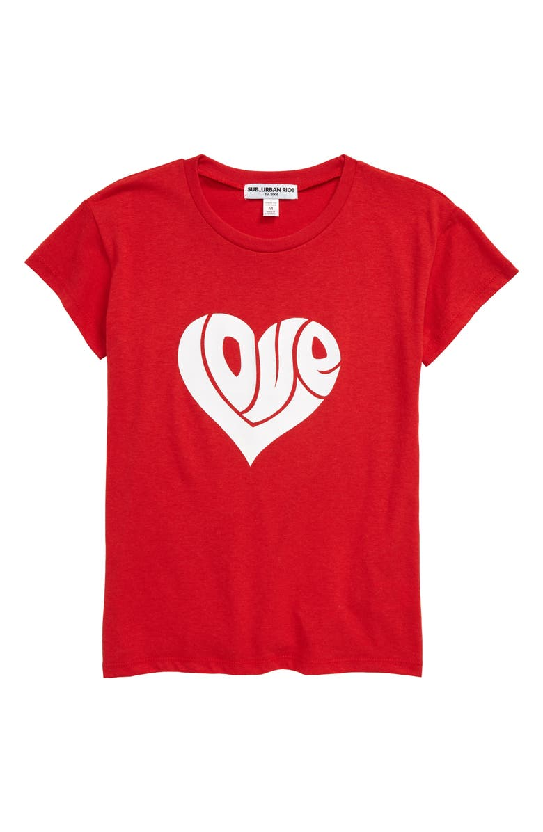 SUB_URBAN RIOT Love Heart Graphic Tee, Main, color, RED