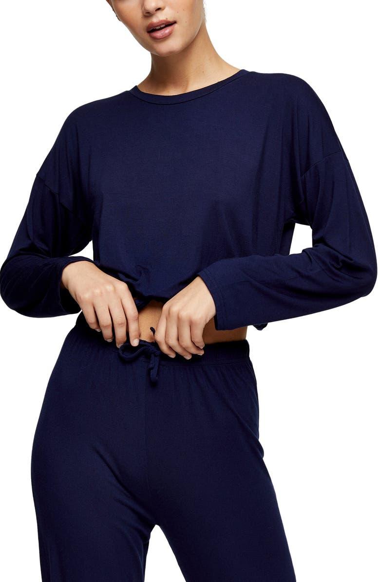 TOPSHOP Drawstring Crop Lounge Top, Main, color, NAVY BLUE