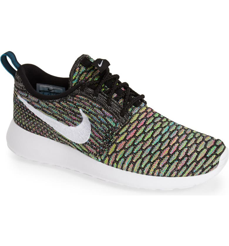 NIKE FlyKnit Roshe Run Sneaker, Main, color, 001