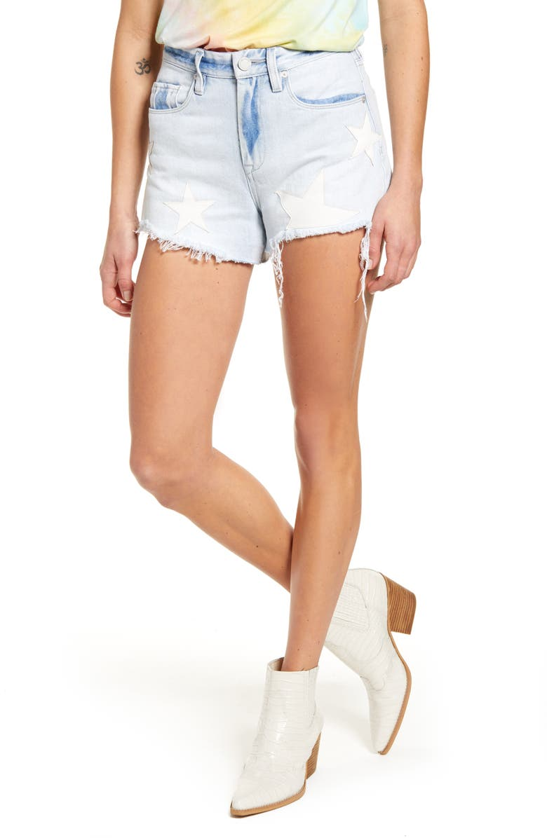 BLANKNYC The Barrow Allstar Patch High Waist Denim Shorts, Main, color, LIGHT WASH