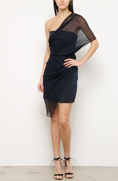 Tulle Overlay One-Shoulder Silk Minidress, video thumbnail