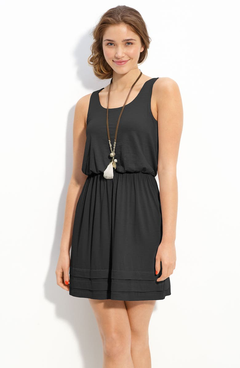 --- Pleated Hem Slub Knit Tank Dress, Main, color, 001