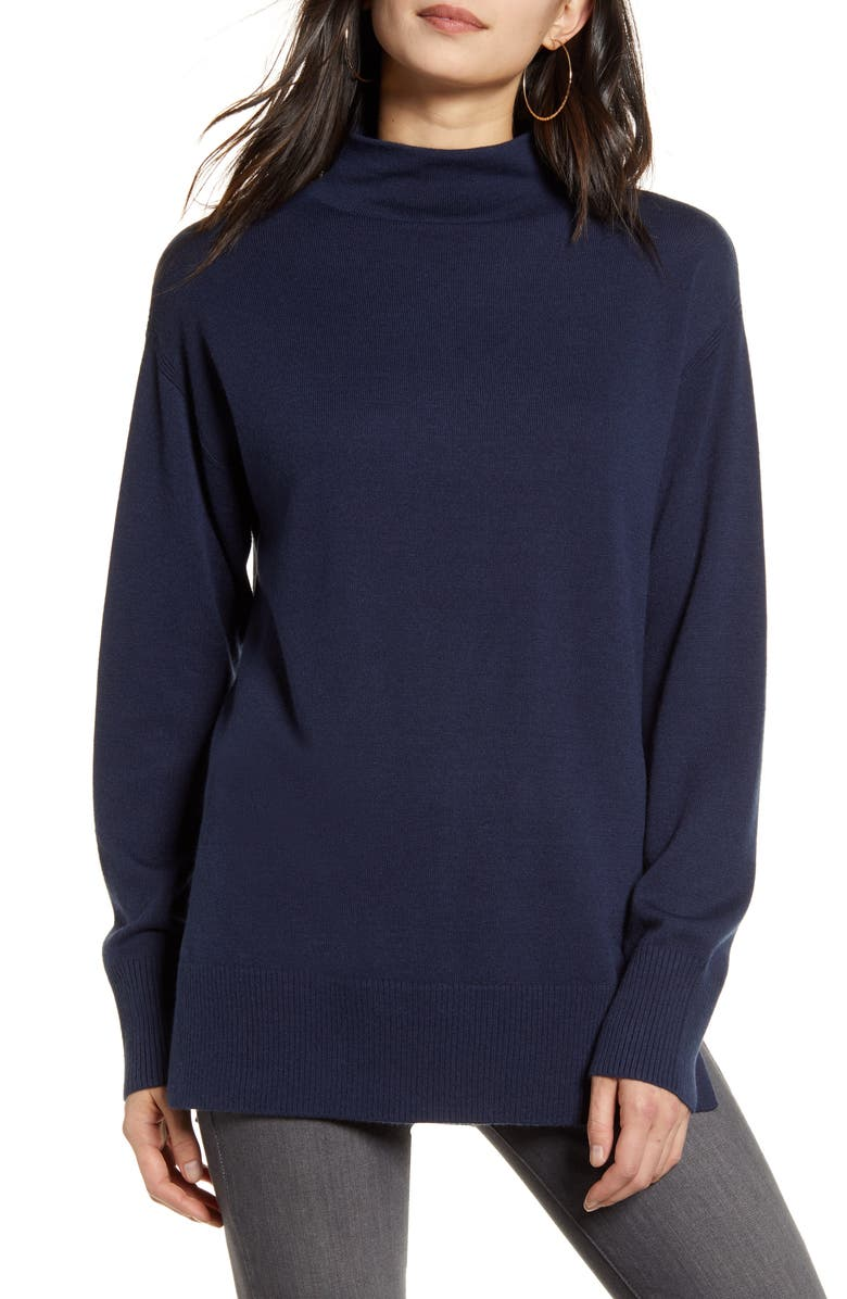 CHELSEA28 Funnel Neck Sweater, Main, color, NAVY IRIS