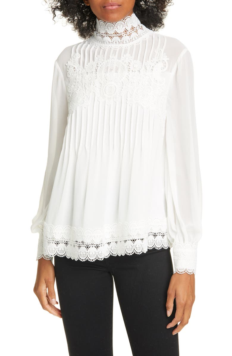 TED BAKER LONDON Cailley Lace High Neck Blouse, Main, color, IVORY