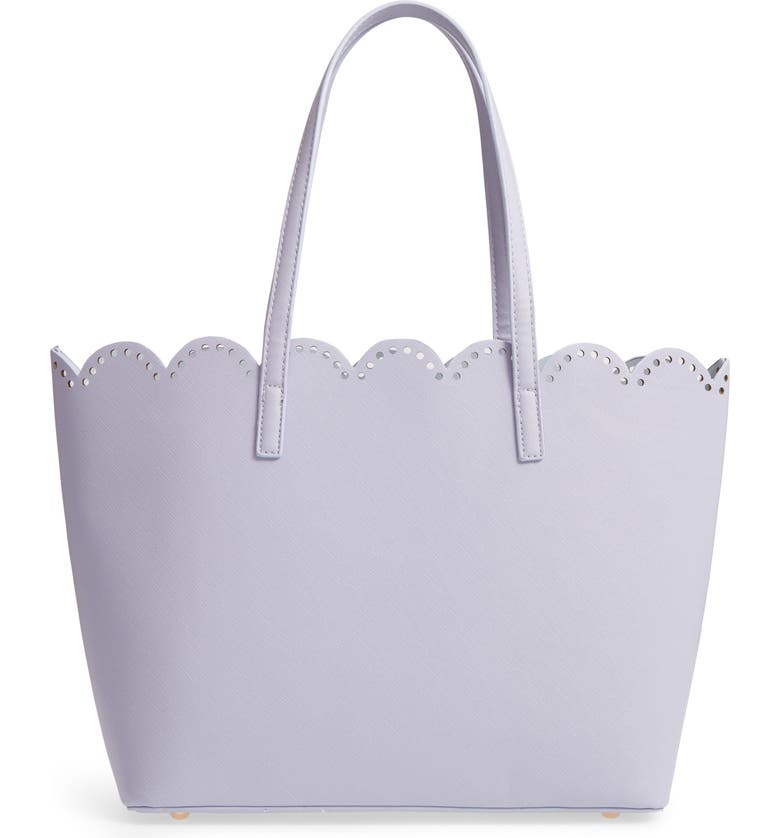 BP. Scalloped Faux Leather Tote, Main, color, LILAC