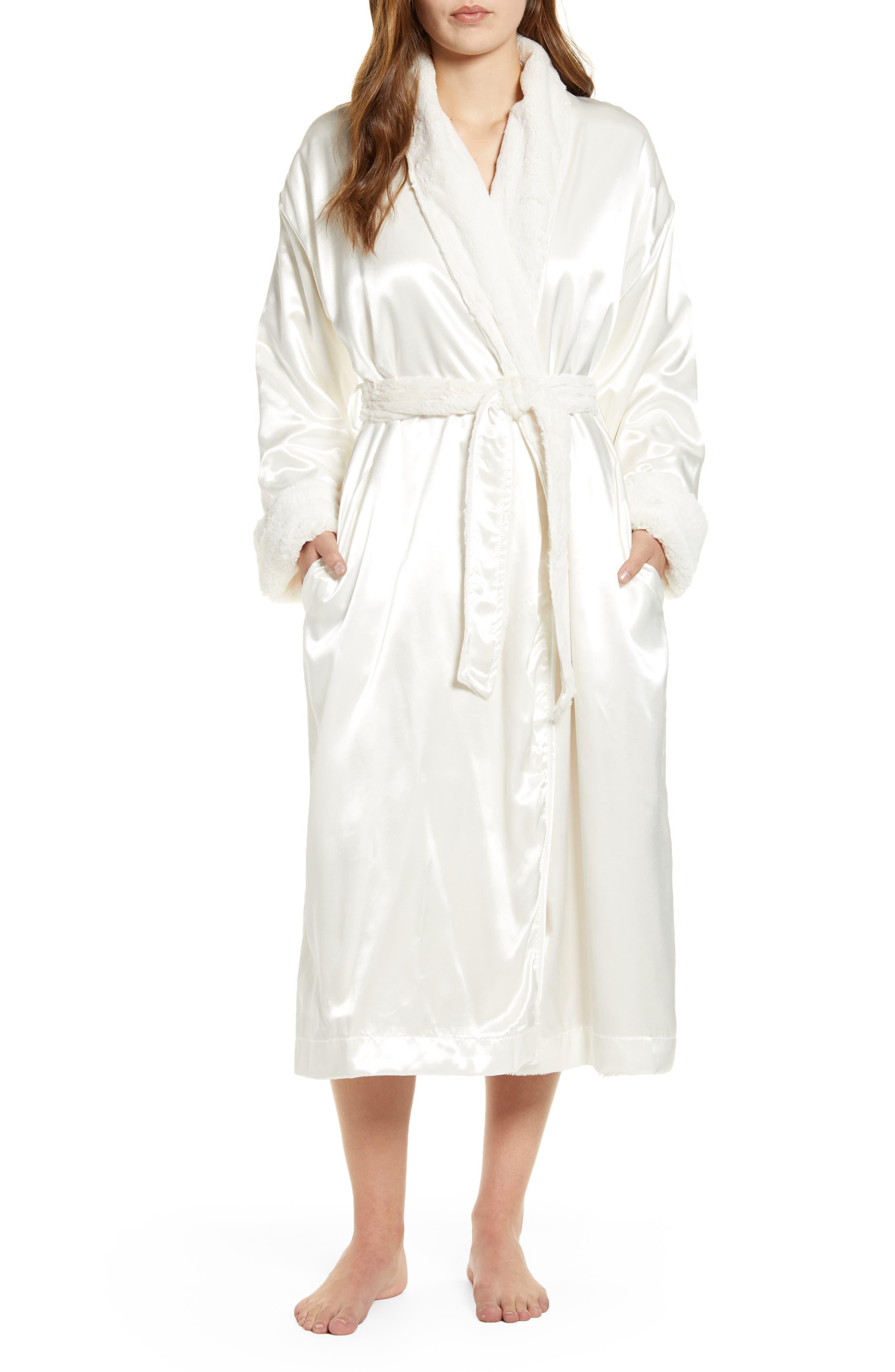 Faux Fur & Satin Robe