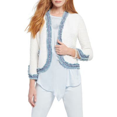 Petite Nic+Zoe Bright Side Open Front Crop Jacket, White