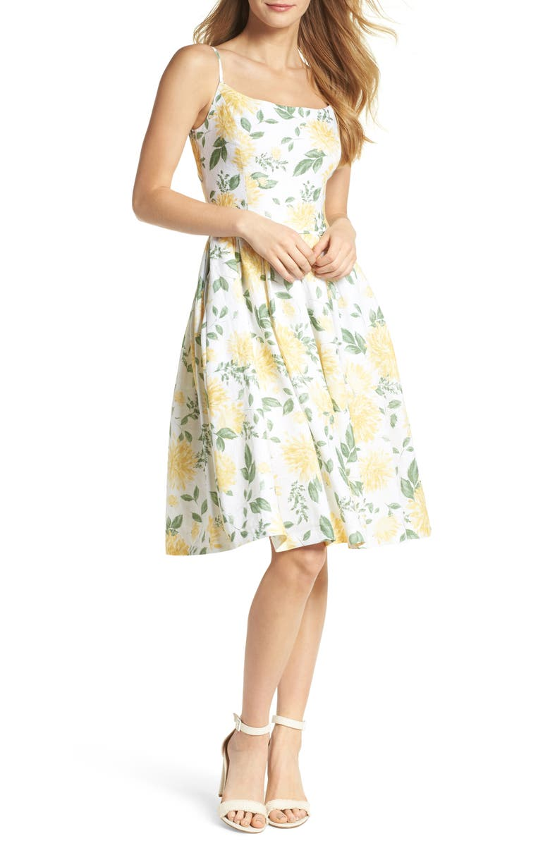 GAL MEETS GLAM COLLECTION Abigail Painted Aster Fit & Flare Sundress, Main, color, 700