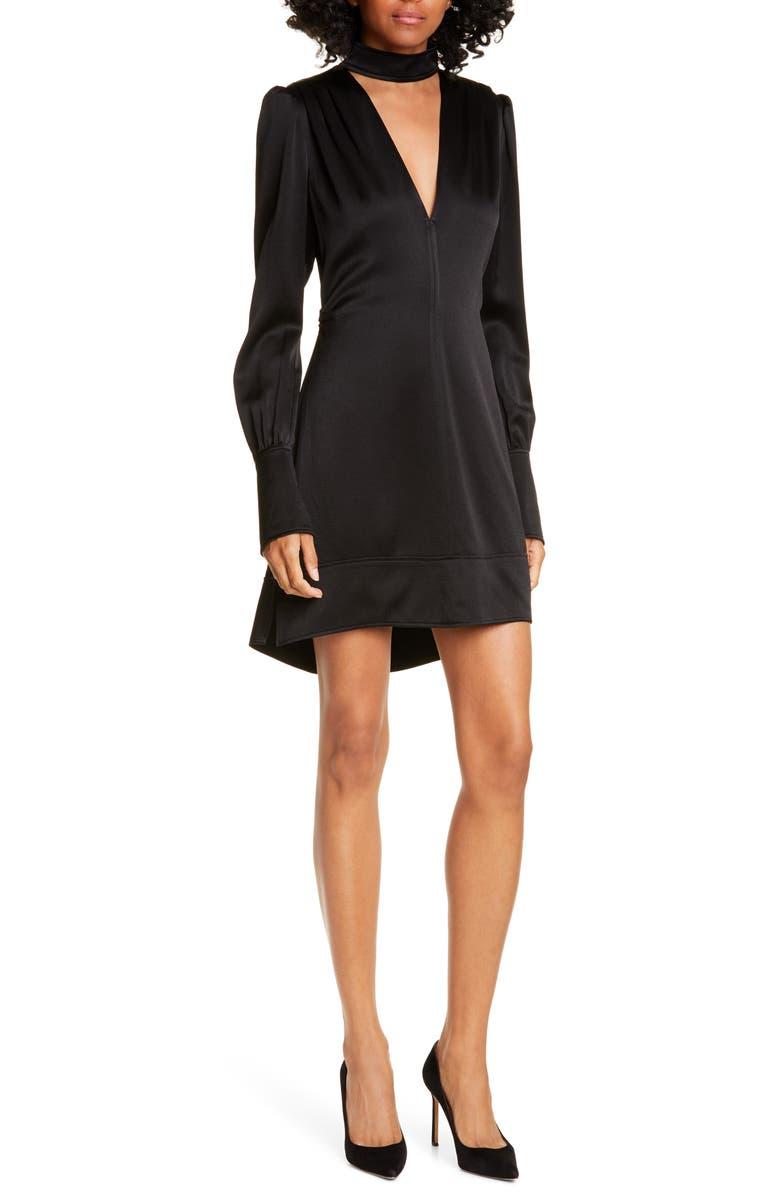 A.L.C. Garrison Cutout Long Sleeve High/Low Minidress, Main, color, BLACK