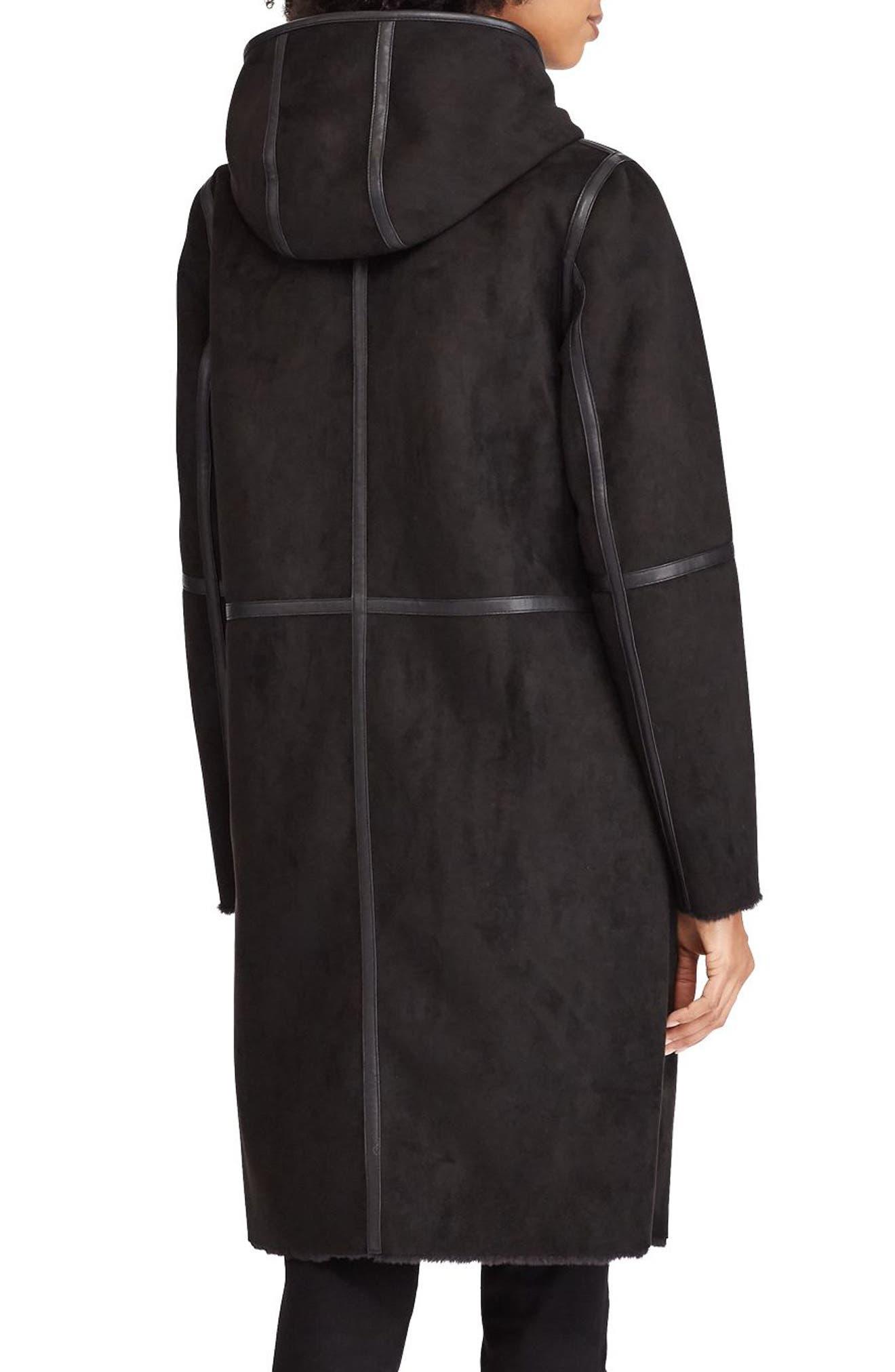 ,                             Faux Shearling Duffle Coat,                             Alternate thumbnail 2, color,                             001