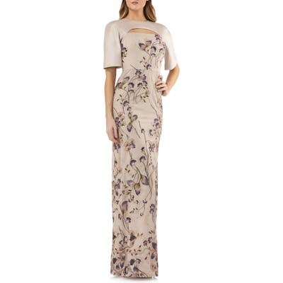 Kay Unger Cutout Detail Embroidered Beaded Gown, Beige