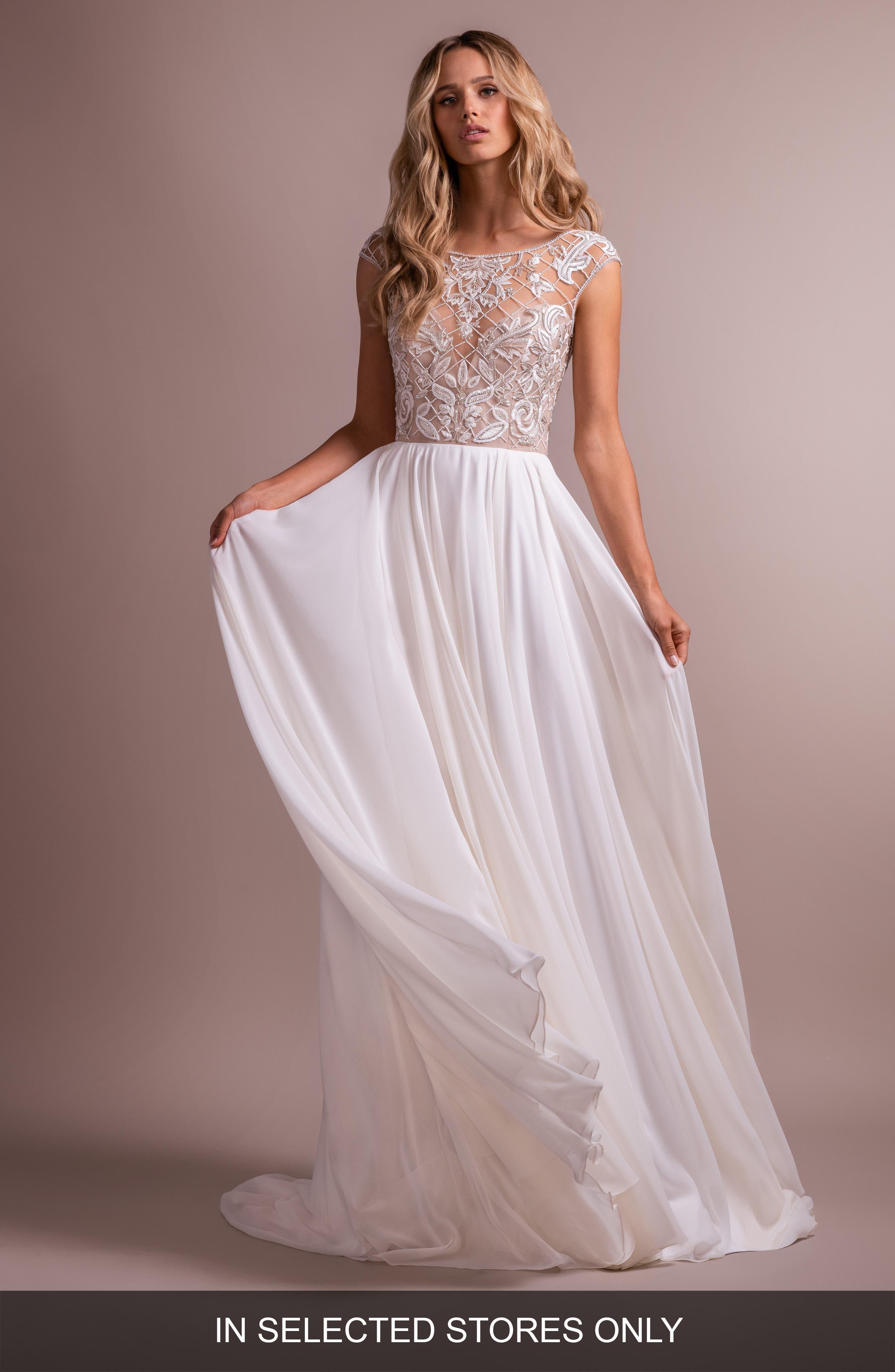 Hayley Paige Hemmingway Embroidered Crewneck Wedding Dress, Size - Ivory