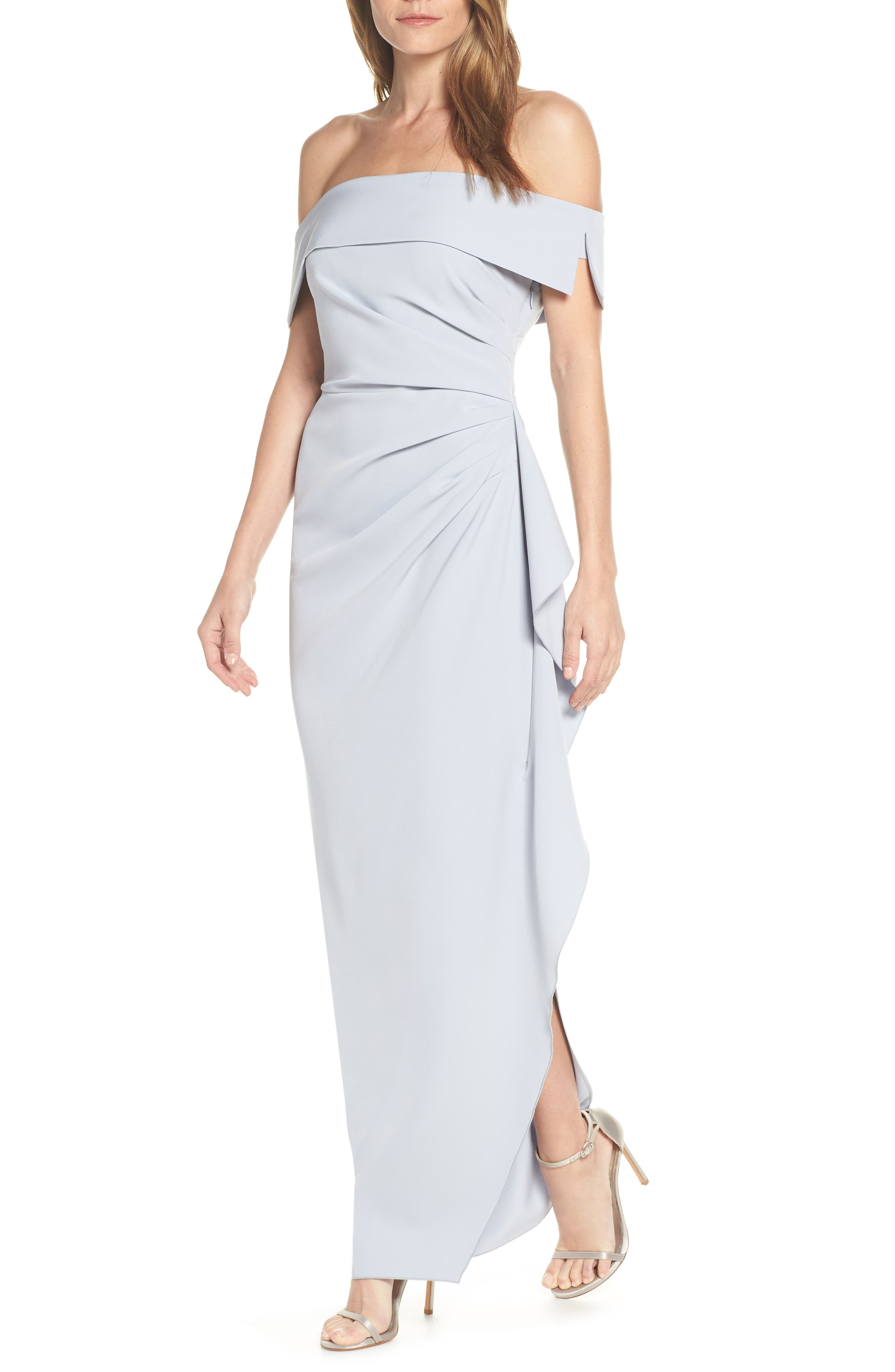 Vince Camuto Off The Shoulder Crepe Gown, Blue