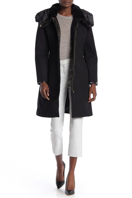 Image of Nine West Faux Fur Trim Belted Coat