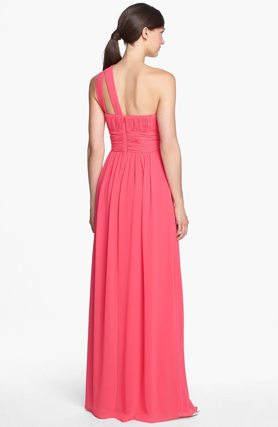 ,                             'Rachel' Ruched One-Shoulder Chiffon Gown,                             Alternate thumbnail 133, color,                             805