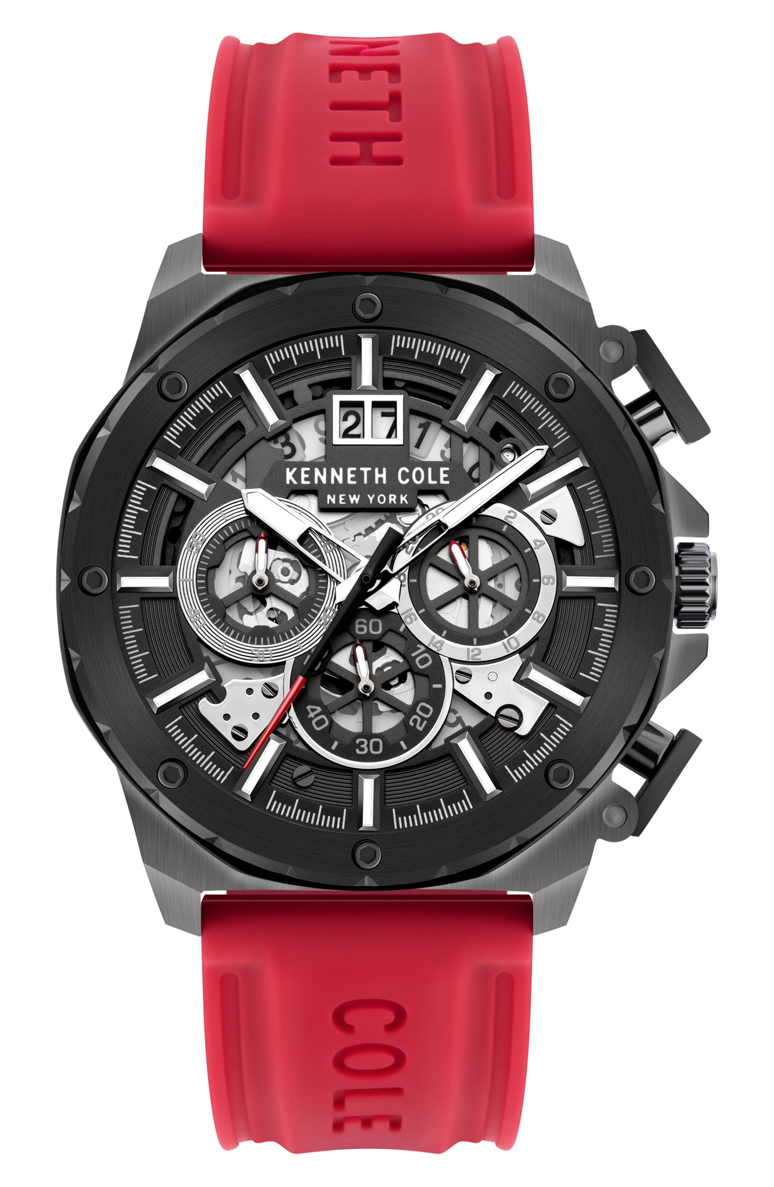 Skeletal Chronograph Silicone Strap Watch