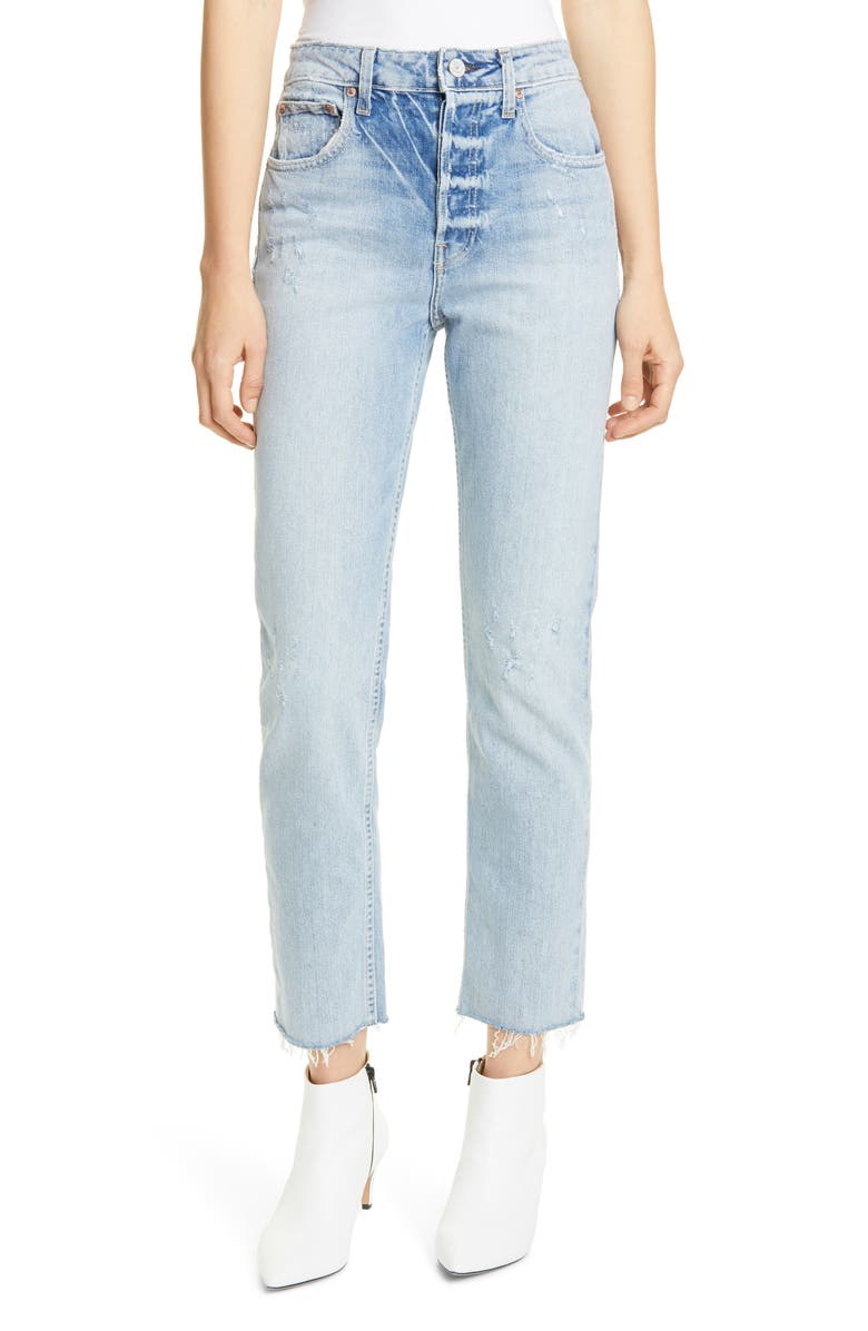TRAVE Constance High Waist Ankle Straight Leg Jeans, Main, color, 400