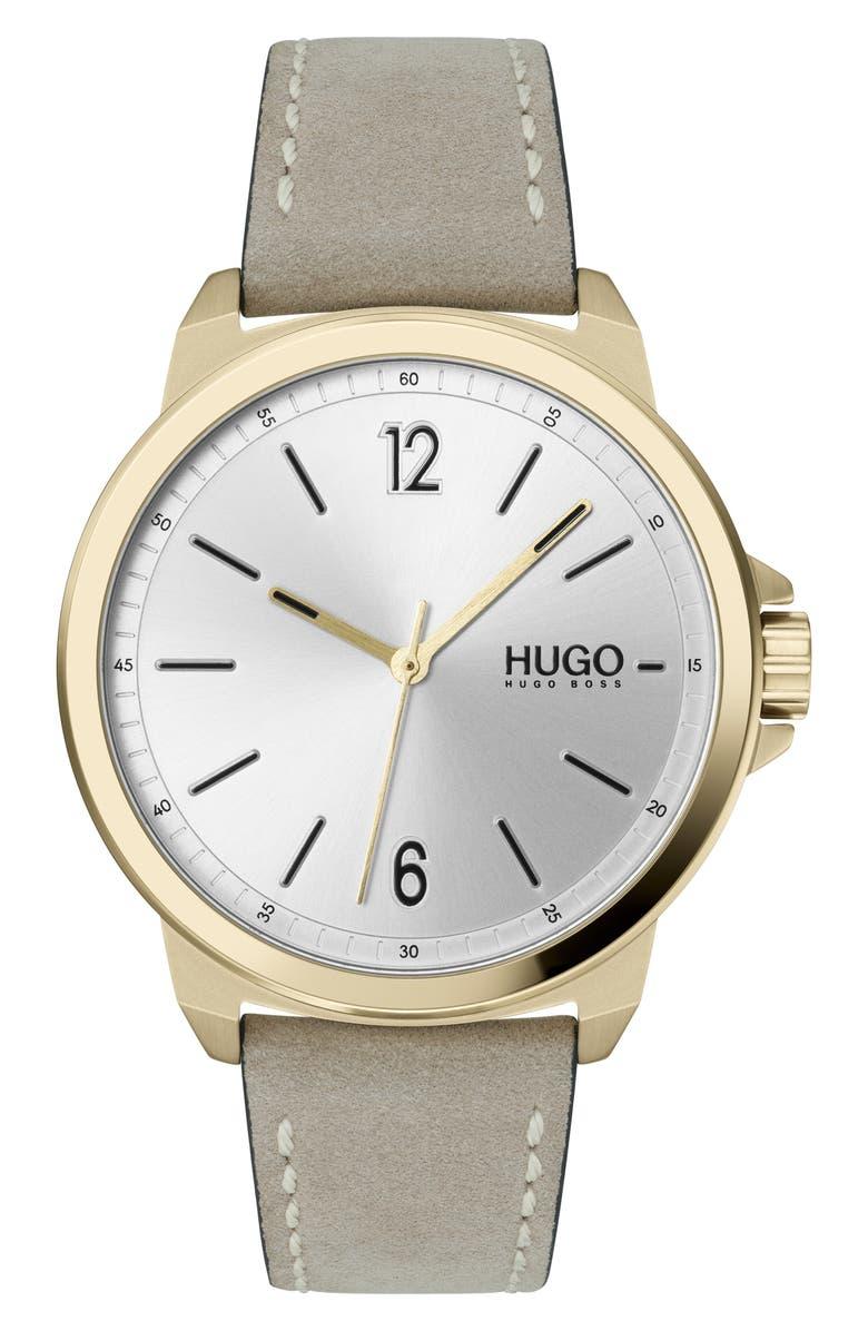 HUGO Nubuck Leather Strap Watch, 42mm, Main, color, 039