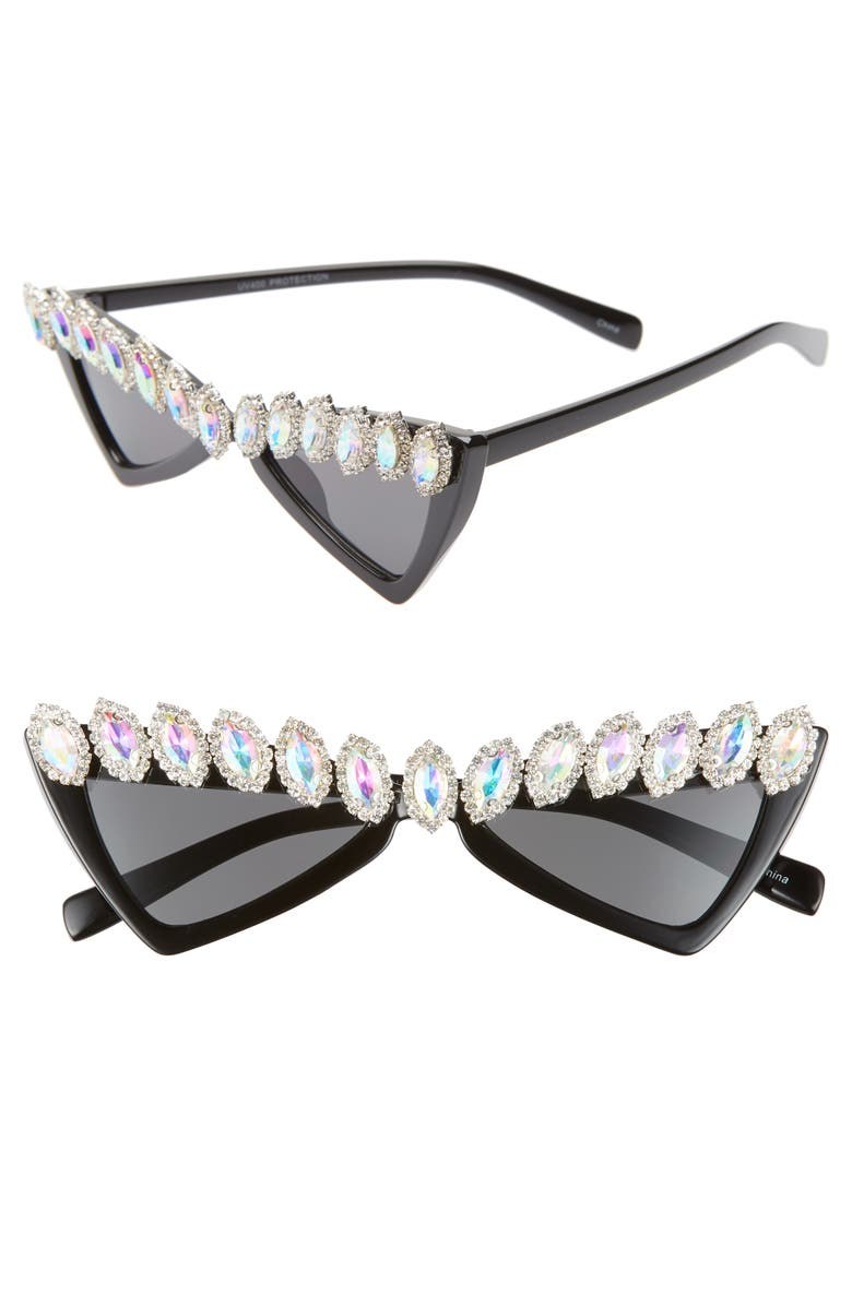 RAD + REFINED Psychic Affair Triangle Sunglasses, Main, color, BLACK/ BLUE CRYSTAL
