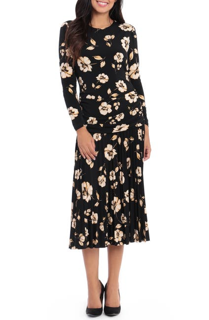 Image of Maggy London Floral Pleated Midi Dress