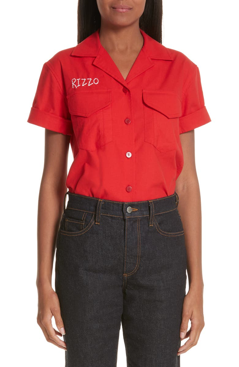 SIMON MILLER x Paramount Grease Rizzo Embroidered Mechanic Shirt, Main, color, 600