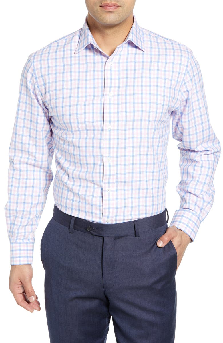 NORDSTROM MEN'S SHOP Tech-Smart Traditional Fit Plaid Stretch Dress Shirt, Main, color, PINK CAMEO