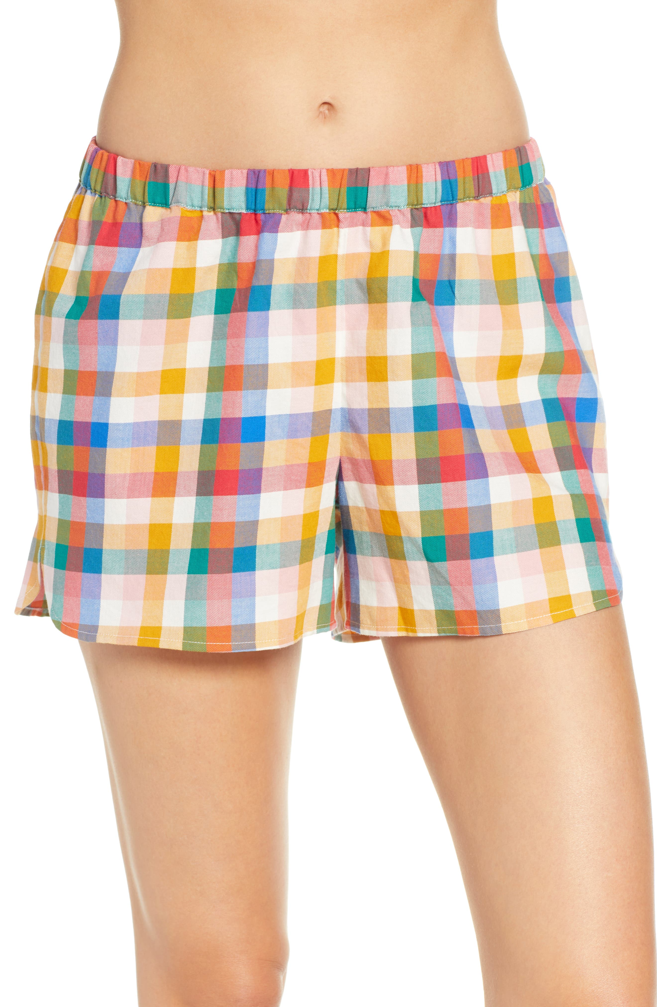 Madewell Bedtime Rainbow Plaid Pajama Shorts, Red