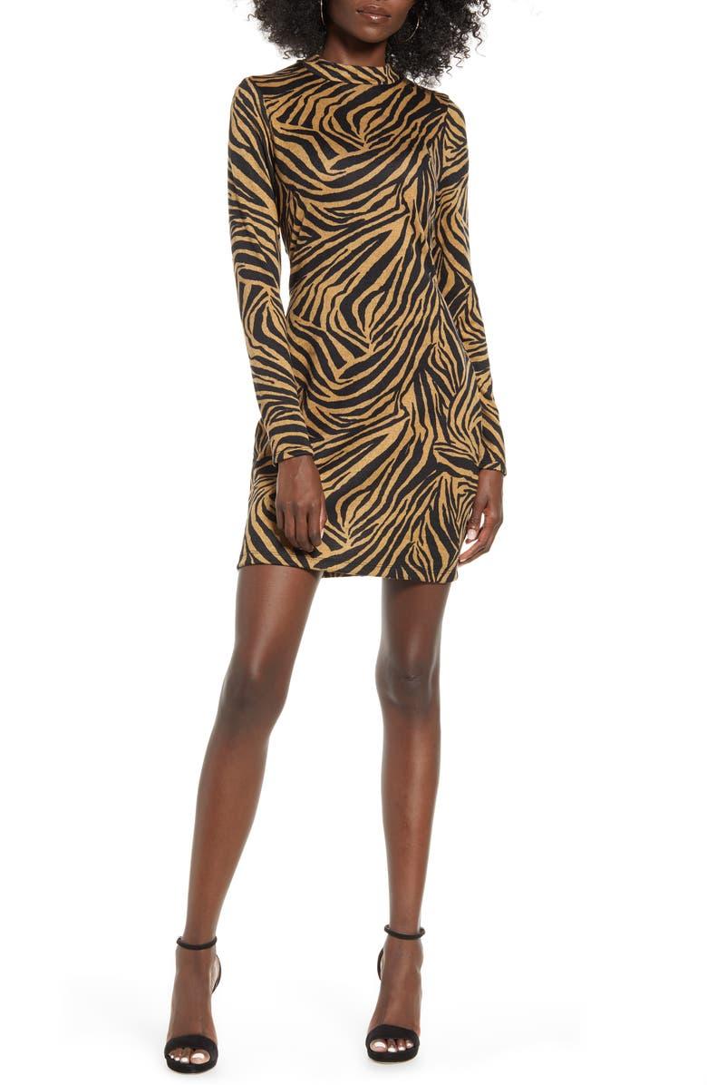SPEECHLESS Zebra Long Sleeve Body-Con Minidress, Main, color, CAMEL BLACK