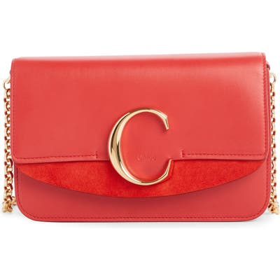 Chloe Mini Leather Shoulder Bag - Red